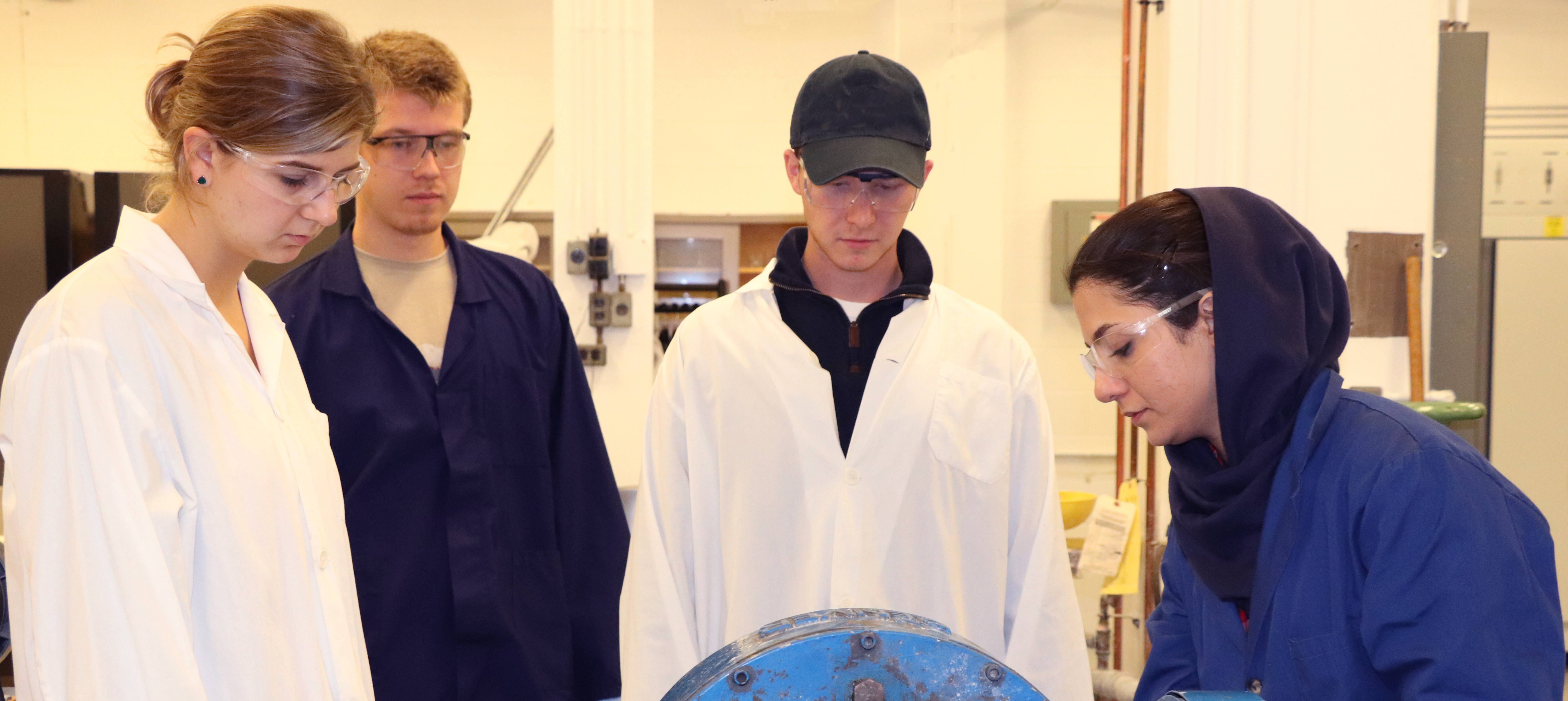 Student in the mineral processing lab